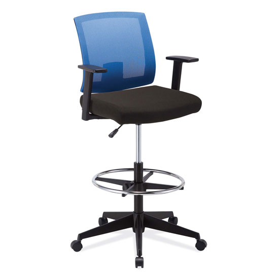 COE Mesh Back Task Stool, Upholstered Seat with Footring and Black Base