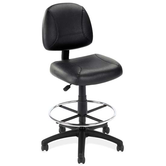 COE Black Leather Armless Deluxe Posture Chair with Black Frame