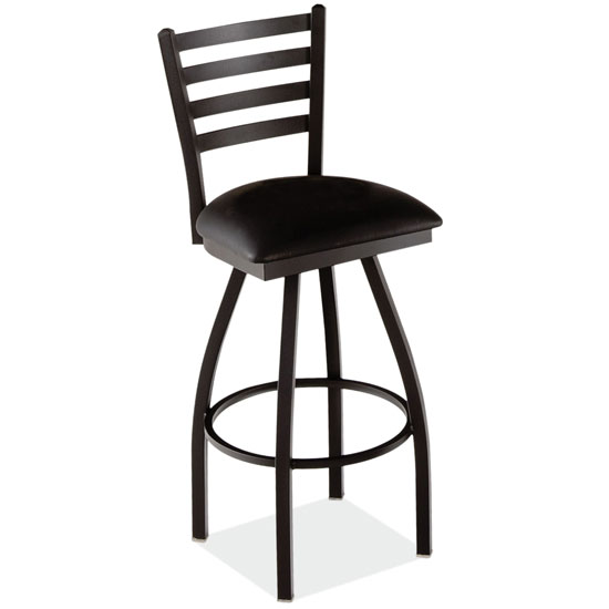 COE Ladder Back Swivel Barstool with Black Wrinkle Steel Frame