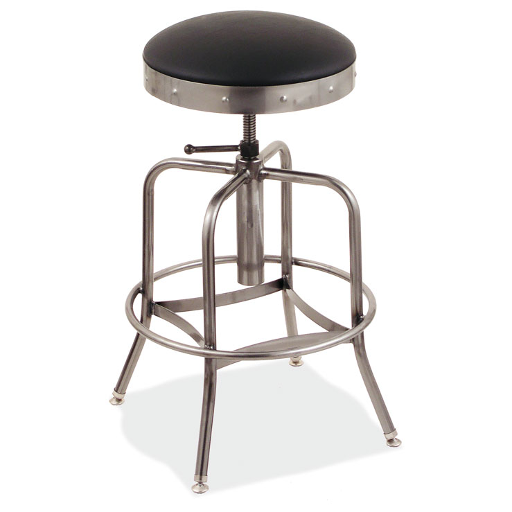 COE Padded Seat Adjustable Stool with Clearcoat Frame