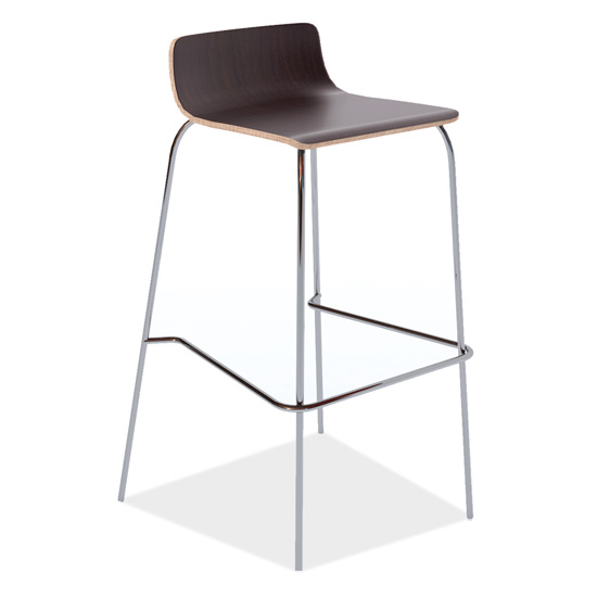 COE Cafe Height, Low Back Wood Stool with Chrome Base