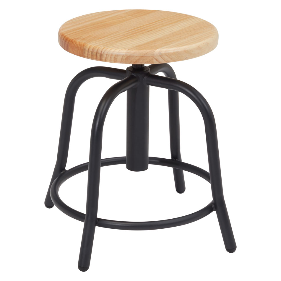 COE Adjustable Height Stool with Wood Seat and Gray Base