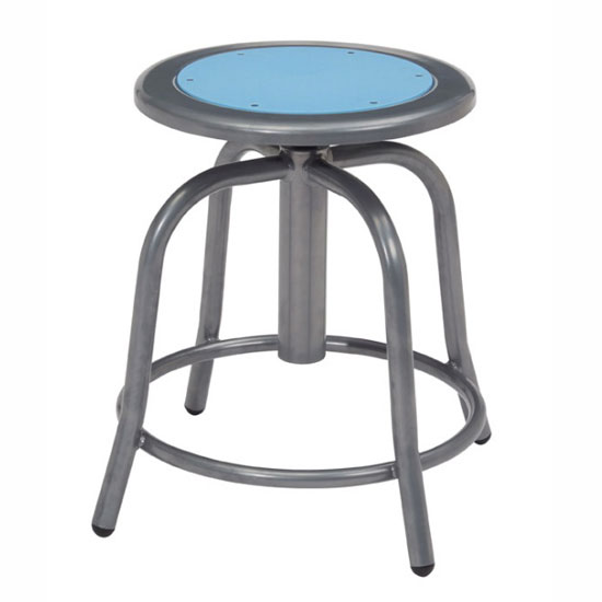 COE Adjustable Height Stool with Steel Seat and Gray Base