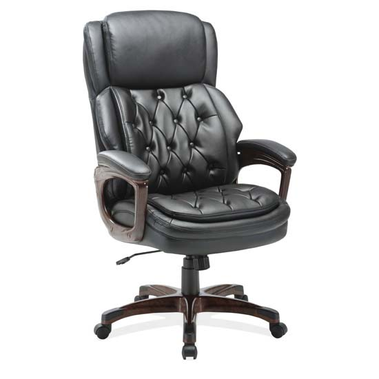 COE Executive High Back, Tufted Seat and Back with Plastic Wooden Arms and Base