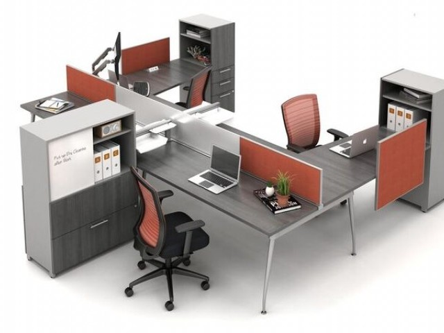 AIS Oxygen Open Plan Benching Workstation with screens and Calibrate Storage