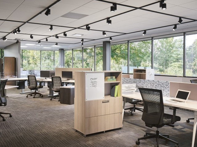 Oxygen Benching/Desking, Calibrate Storage with Upton and Bolton Task Seating