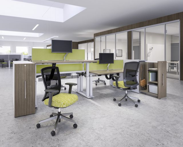 AIS Aloft Height Adjustable Desking Workstation with Calibrate Pullout Storage