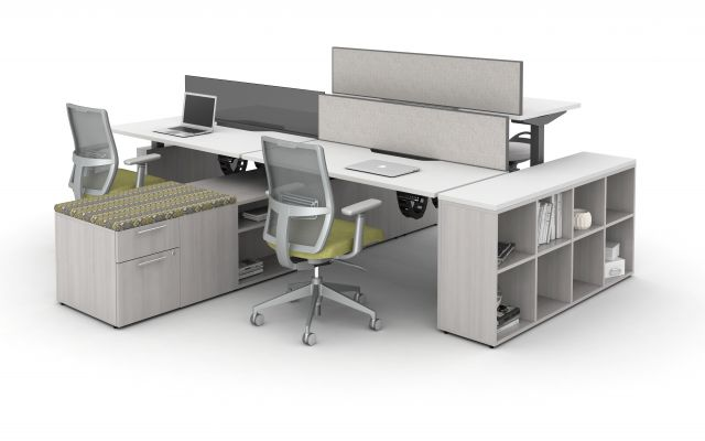 AIS Aloft Height Adjustable Workstations with Calibrate Storage