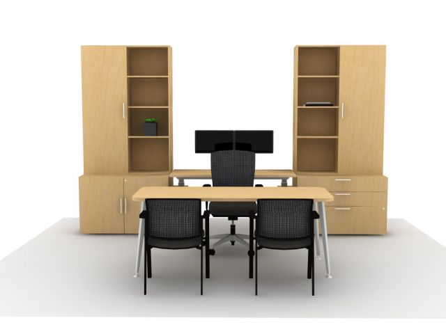 AIS Calibrate Casegoods with Height Adjustable Credenza