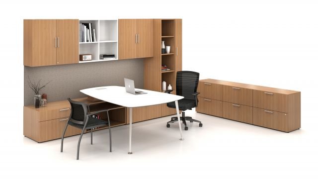 AIS Calibrate Series Casegoods Private Office with Overhead Storage Desk