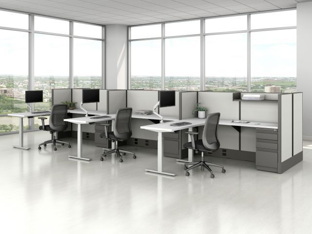 AIS Divi Open Plan Panel System Fast Track with Height Adjustable Tables