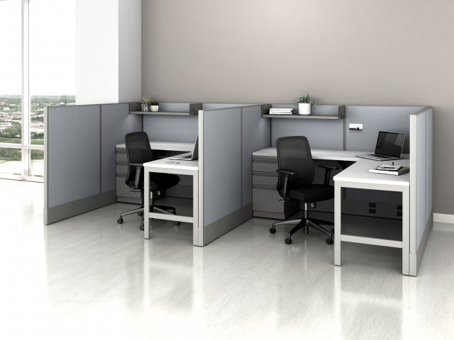 AIS Divi Open Plan Panel System Fast Track Two Workstation
