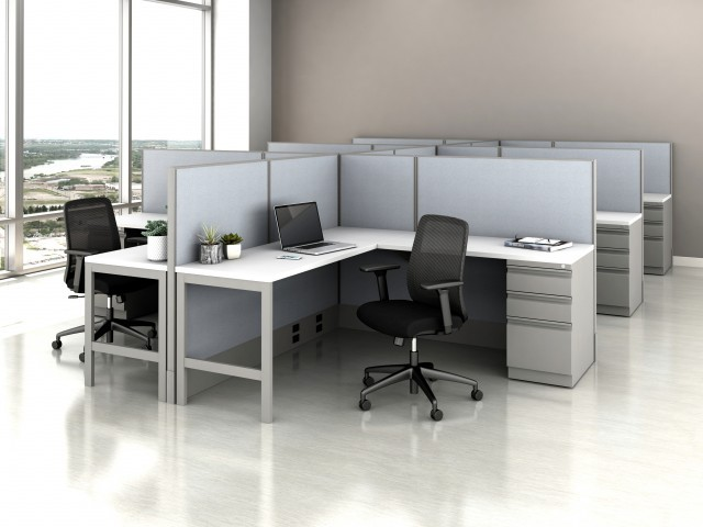 AIS Divi Open Plan Panel System Fast Track Open Six Workstation