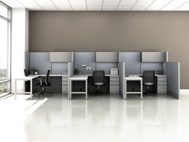 AIS Divi Open Plan Panel System Fast Track Three Workstation
