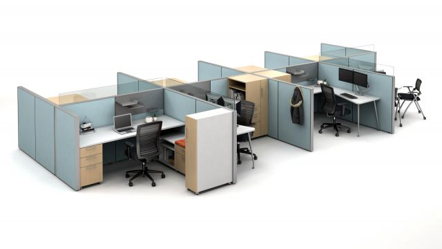 AIS Matrix Open Plan Panel System with Calibrate storage, Natick Task Seating