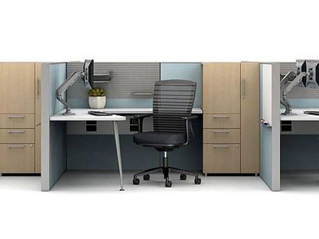 AIS Matrix Open Plan Panel System 3 pack workstation with Calibrate Storage