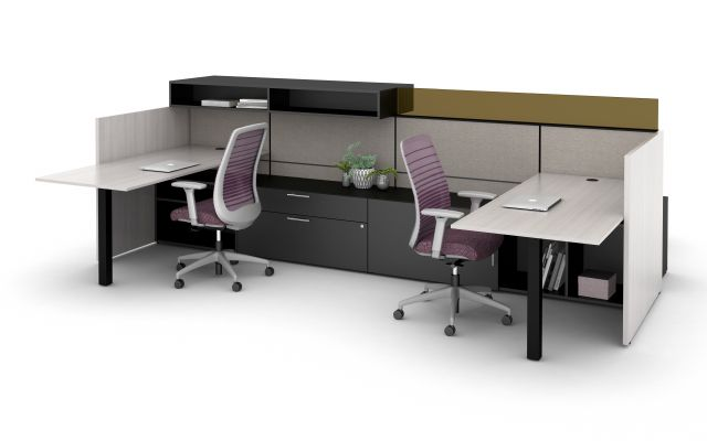 AIS Matrix Spine Open Plan Panel System with Upmount Glass Screen and Overhead Storage