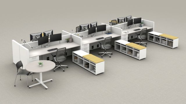AIS Matrix Open Plan with Calibrate Series Storage, Day to Day Table