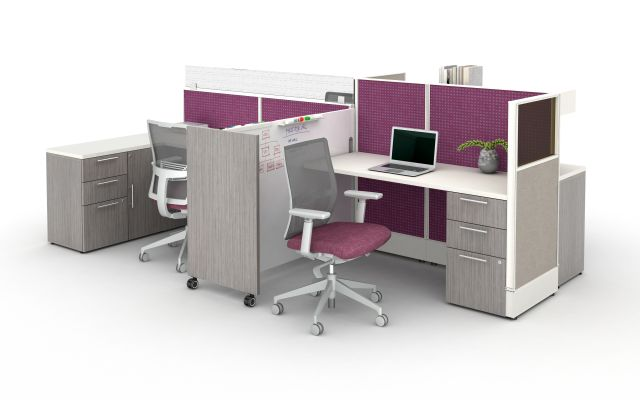 AIS Divi Open Plan Workstations with Custom Mobile Whiteboard and Calibrate Storage