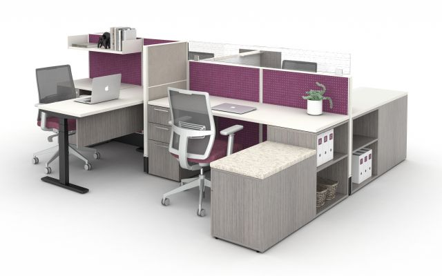 AIS Divi Open Plan Workstation with Upmount Glass.
