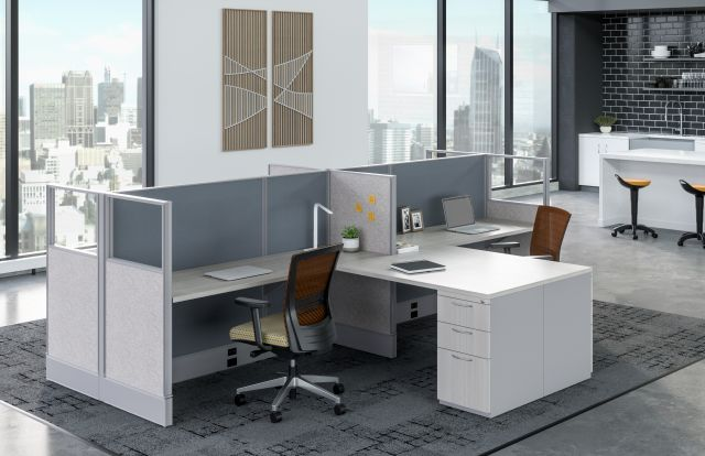 AIS Divi Open Plan Panel System Shared Workstations