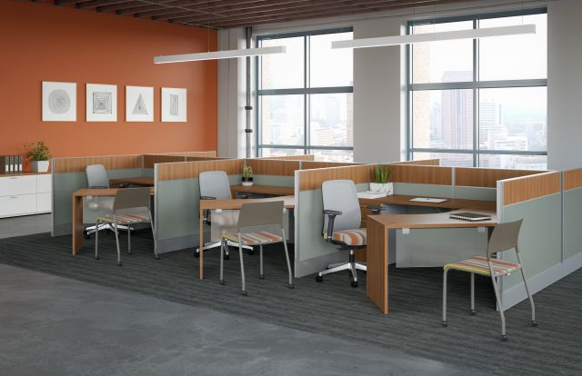 AIS Divi Open Plan Panel System Six Pack of Workstations