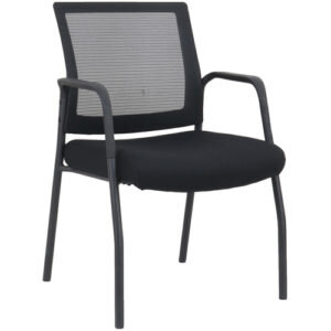 OFD MI1500B Black Frame Visitors Chair with Arms and Black Mesh Back