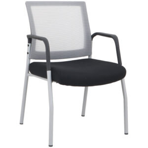 OFD MI1500S Silver Frame Visitors Chair with Arms and White Mesh Back