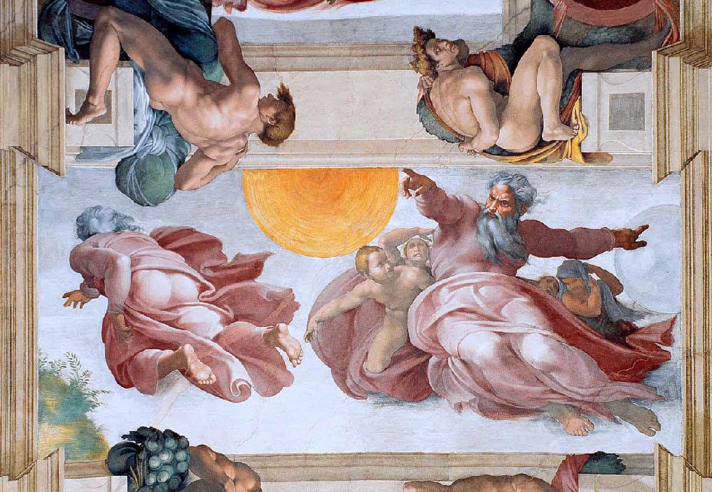 La création du soleil, de la lune et des plantes. Chapelle Sixtine. Michel-Ange, 1511.