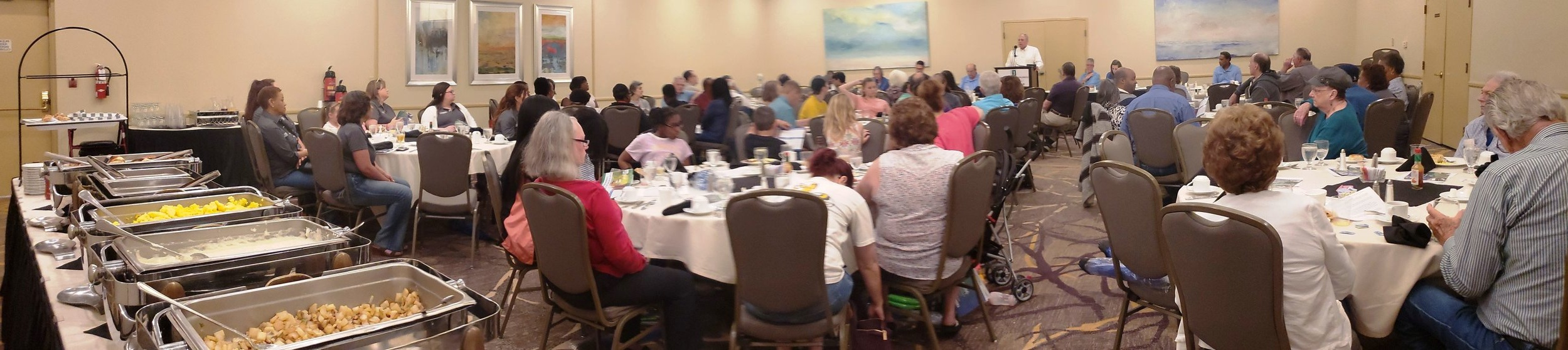 BRECO FCU members enjoy a breakfast buffet, giveaways, and door prizes at the Annual Meeting.