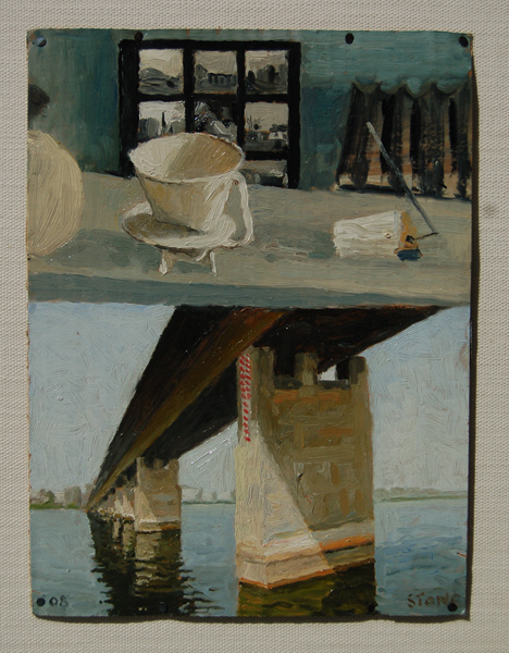 Nile River and Still Life, oil on cardboard, 300x310, 2010