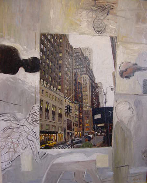 New York and 6 Men, oil on board, 600x400, 2005