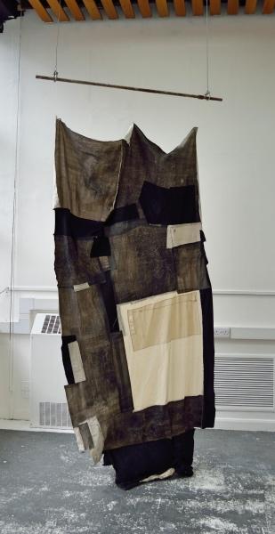 Necrotic,  distemper on canvas, thread and scaffolding, 253 x 150 x 20 cm, 2017