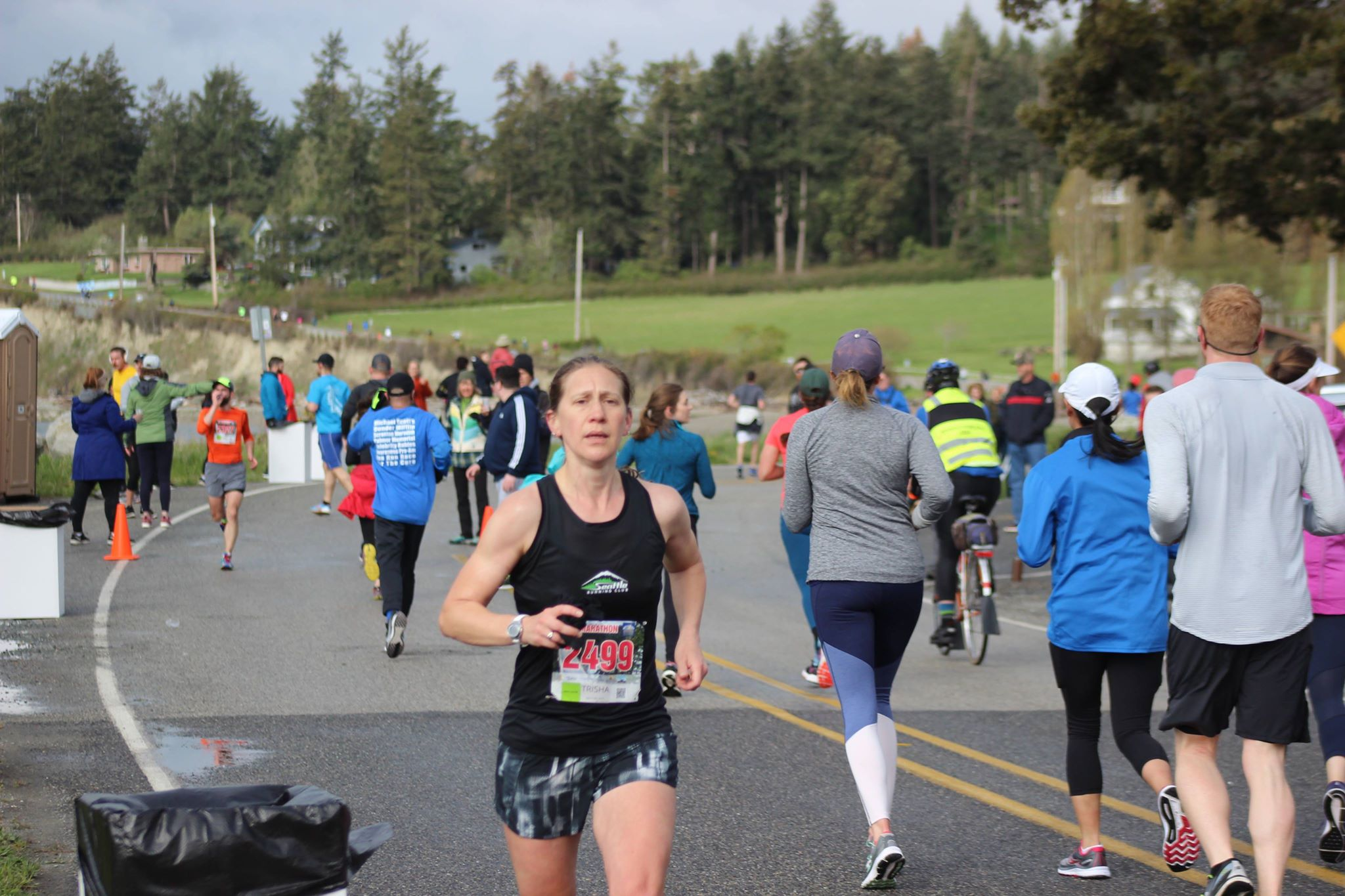 Just before the big hill at the Whidbey Island Half Marathon.