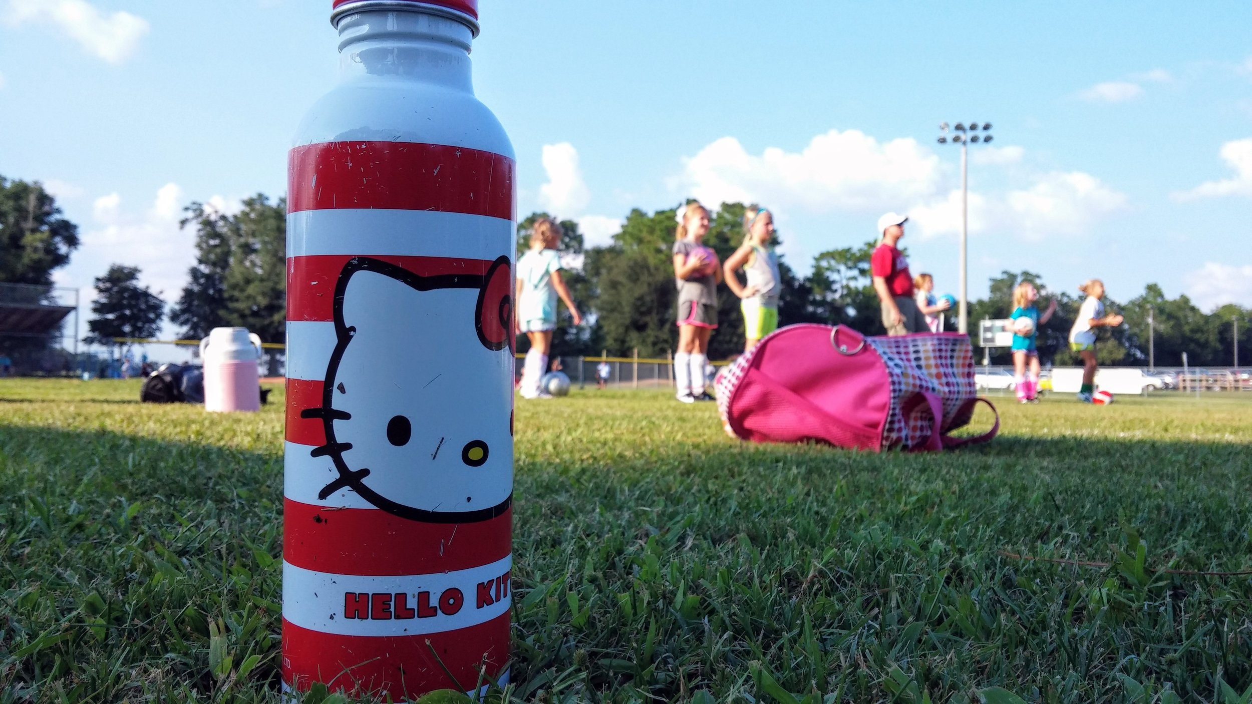 Water bottles are mandatory at soccer practice and games. It's hot out, and you can never hydrate too much. (Hello Kitty is definitely optional, however.)