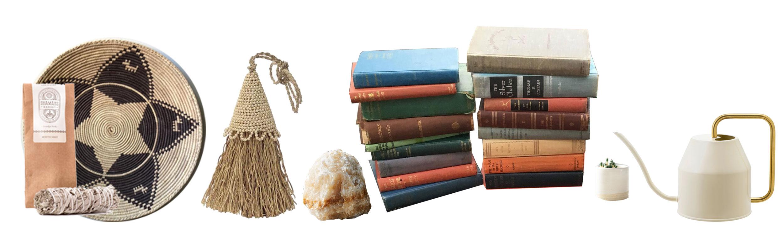 Sage Smudge Sticks:  Shamans Market  | Pakistani Basket:  etsy.com/shop/MackenzieBryantCo  | Vetiver Tassel Room Freshener:  Connected Goods  | Raw Marble Object:  CB2  | Assorted Antique Books:  etsy.com/shop/ThePaintedTrunk  | Match Striker: Amazon | Watering Can:  Ikea