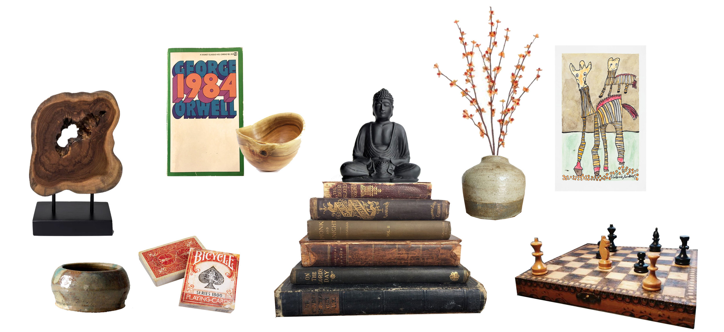 Wooden Sculpture: Target | Small Ceramic Bowl:  Etsy  | Vintage Playing Cards:  Amazon  | Vintage Copy 1984:  depot.com  | Acacia Bowl:  Etsy  | Buddha Statue:  Bungalow Room  | Old Books:  Etsy  | Small Vase:  Etsy  | Print:  Creativity Explored  | Antique Chess Set:  Love Antiques