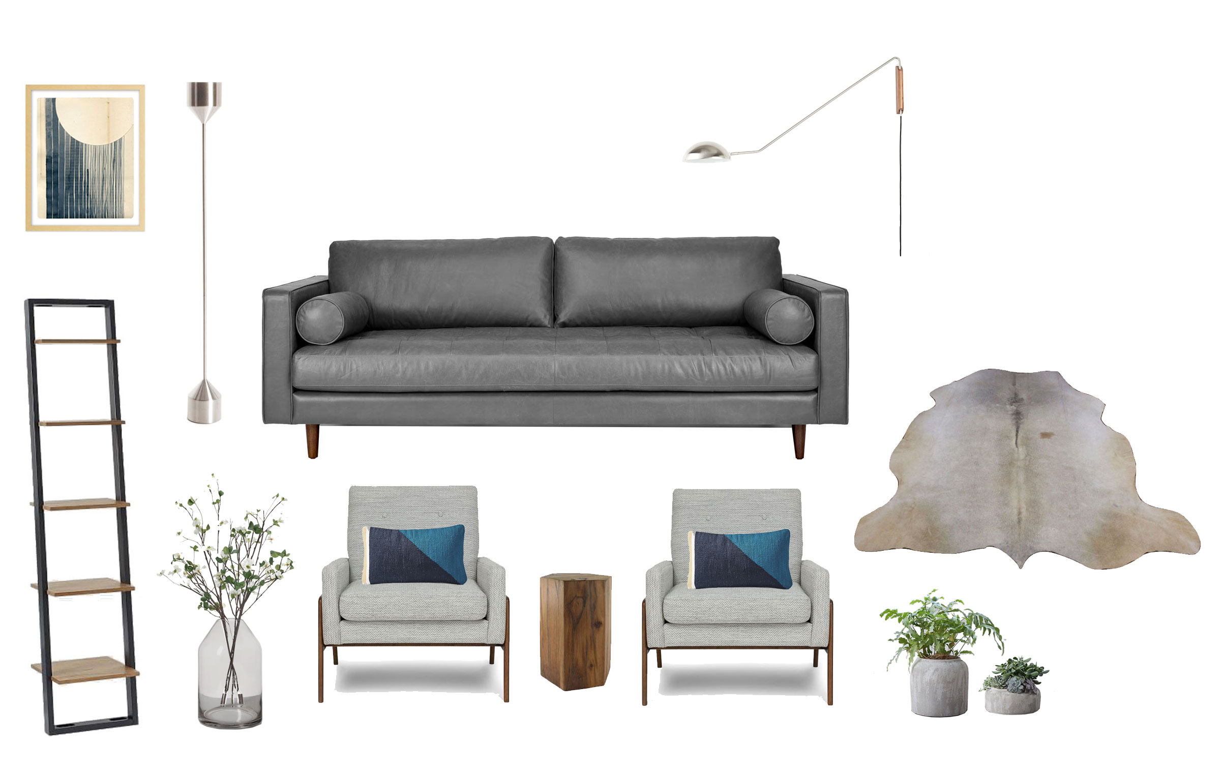 Sitting Room  Print - Not a Circle by Kate Castelli:  Industry West  | Barbell Nickel Floor Lamp, Sven Sofa and Nord Chairs:  Article  | Smoked Glass Vase: Target | Bookshelf:  West Elm  | Wood Side Table: Houzz | Nickel Swing Arm Sconce,  CB2  | Cowhide:  cowhidesinternational.com | Pillows:  West Elm