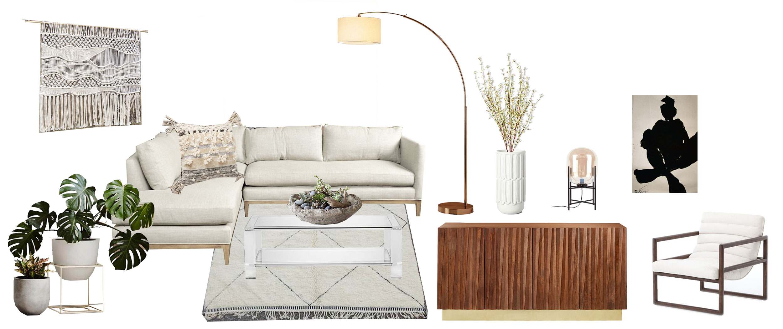 Macramé:  etsy.com/shop/WallKnot  | Sofa:  mecox.com  | Pillow: Anthropologie | Coffee Table:  Interlude Ava  | Succulent Planter: Terrain | Beni Ourain Rug:  Moroccan Rugs USA  | Big Dipper Arc Lamp:  CB2 | Vase:  Target  | Oda Small Capsule Table Lamp:  France and Son  | Peak Media Credenza:  CB2  | Nude by Michael Lentz:  Artfully Walls  | Fitz Chair:  France and Son