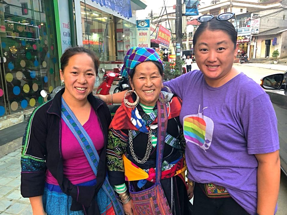 Chi, her mother, and me on my final day in Sapa, 2018