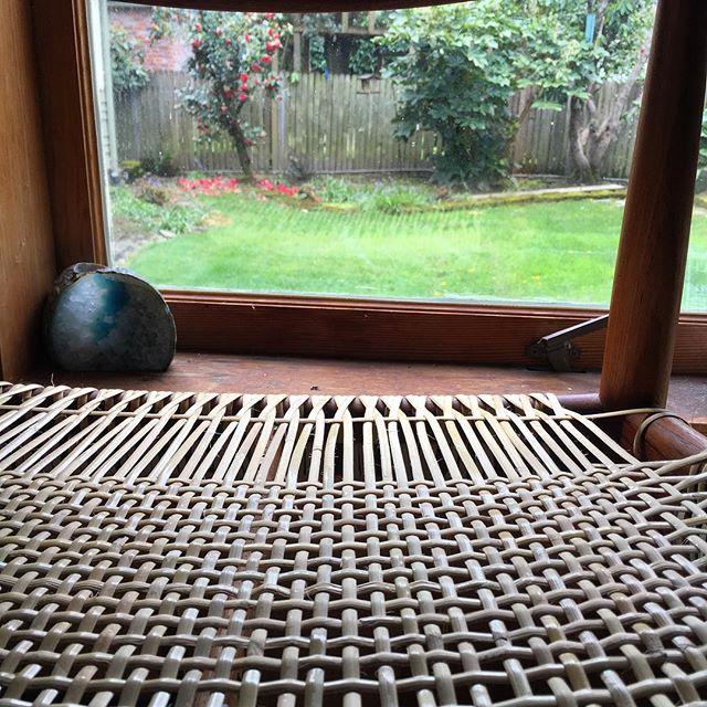 Work in progress on a grey Portland day. • • • • • • • • • •#danishmodern #danishmodernism #hanswegner #hansolsen #papercord #papercording #danishpapercord #handcaning #furniture #furniturecaning #rattan #wicker #rattancaning #caning #antique #antiquefurniture #diy #craft #woodworking #pdx #portland #weaving #textiles #design #weavingwithwood #furnituredesign #old #techniquetuesday #furniturerehab #furniturefixer #wicker