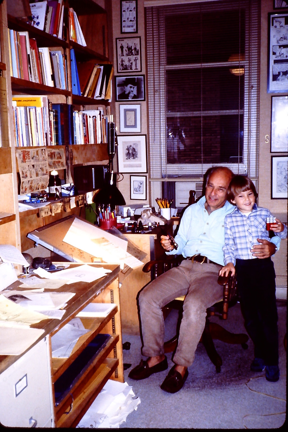 with my dad in his studio