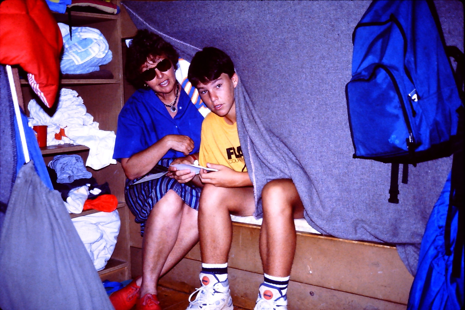 with my mom in my cabin