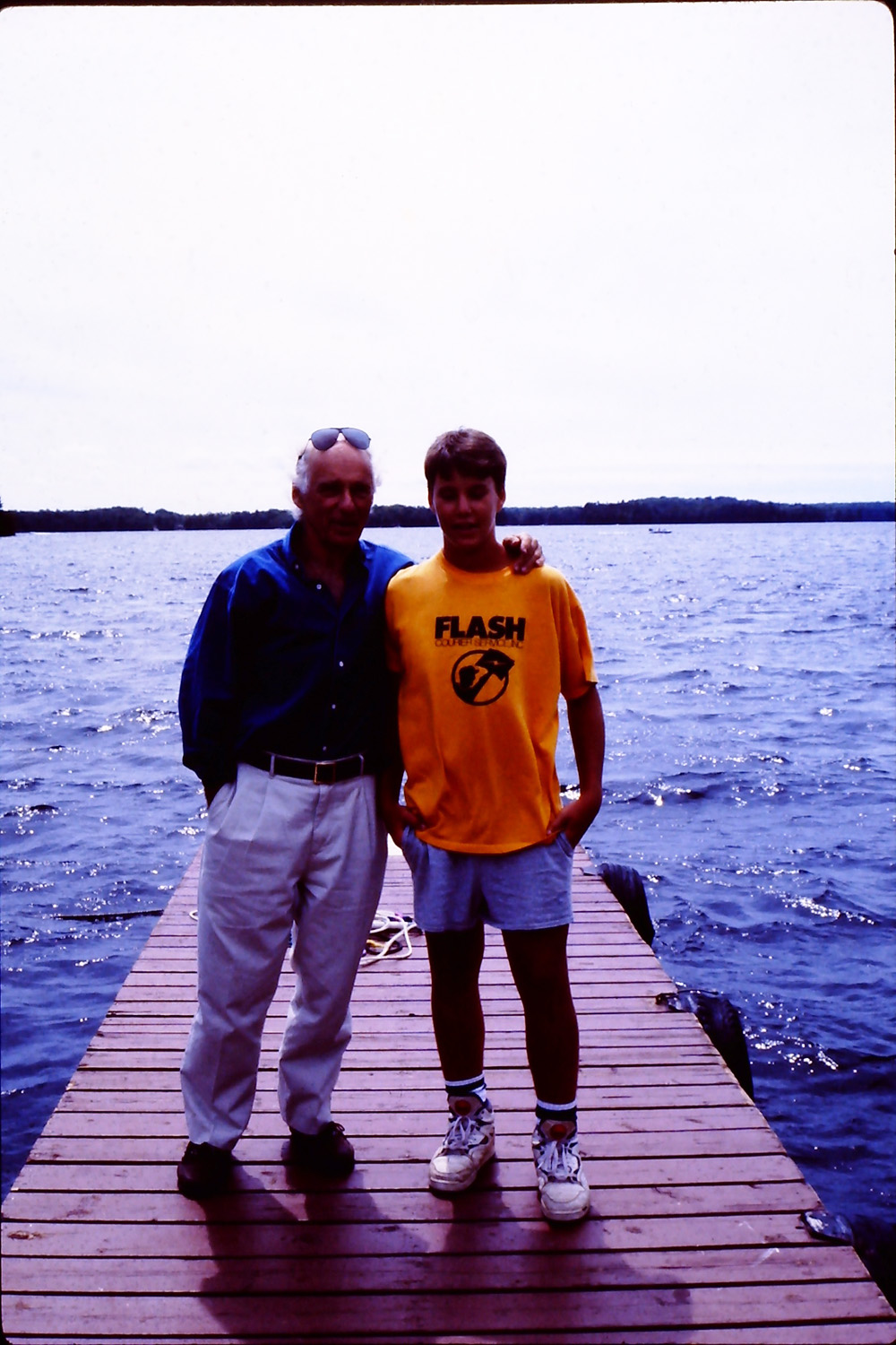 with my dad at the Manitou waterfront