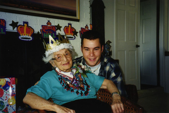 with my grandma Helen at her 100th birthday party