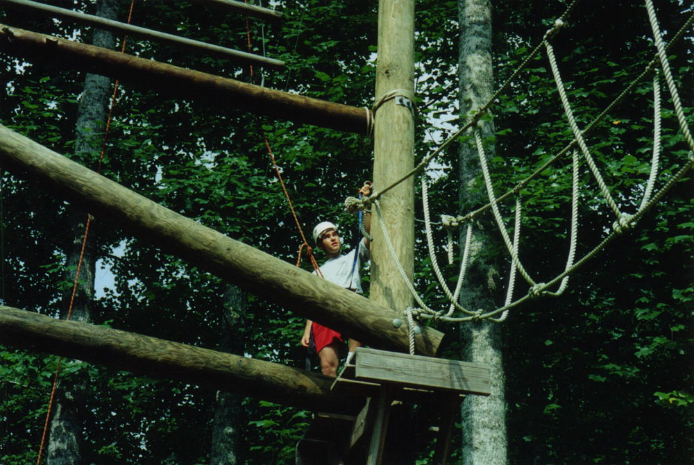plowing through a high ropes course