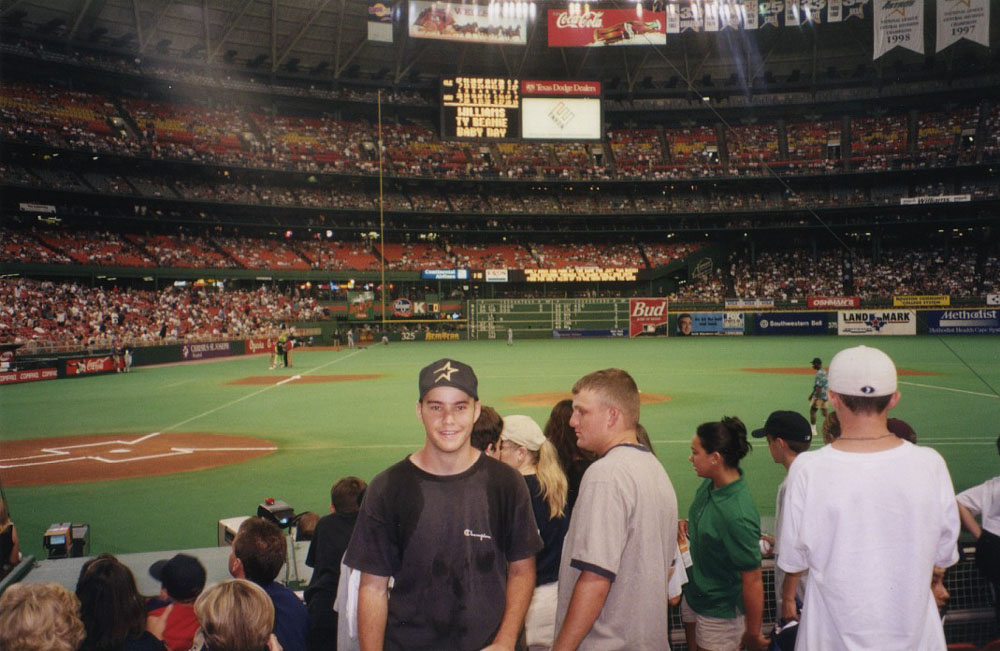at the Astrodome (with backpack-induced sweat stains)