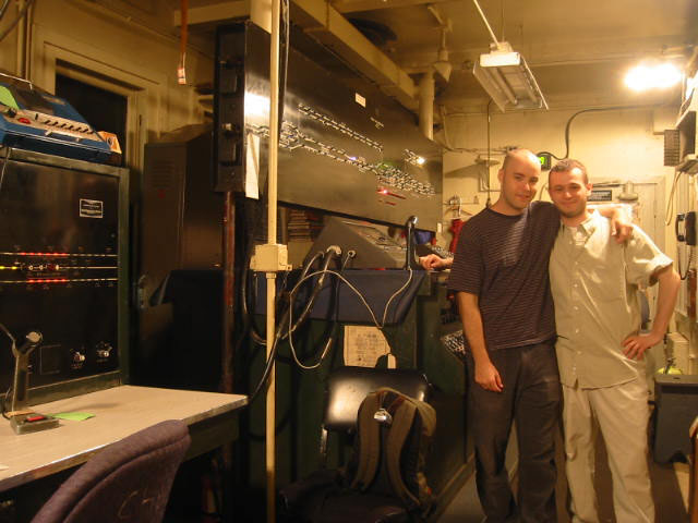 with my friend Marc in a subway control tower