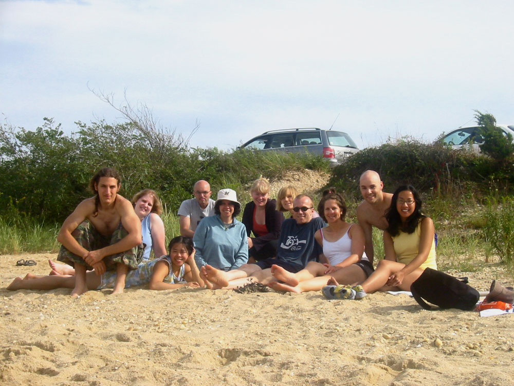 with friends at the beach on Shelter Island