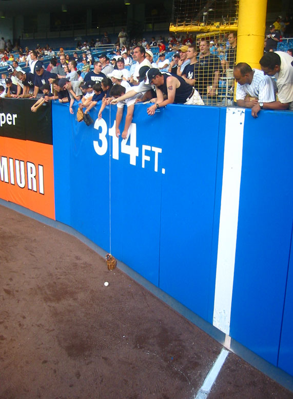 plucking a ball off the warning track at Yankee Stadium